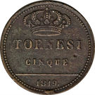 5 tornesi - Ferdinando I – revers