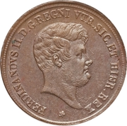 5 tornesi - Ferdinando II – avers