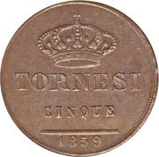 5 tornesi - Ferdinando II – revers