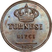 10 Tornesi - Ferdinando II (1er portrait) – revers