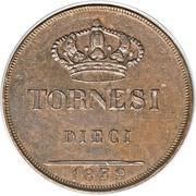 10 Tornesi - Ferdinando II (2eme portrait) – revers