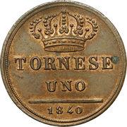 1 tornese - Ferdinando II – revers
