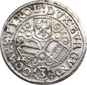 3 kreuzer Leopold V Landesfürst du Tyrol (1626 -1632) – revers