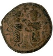 Fals - two standing figures type - 680 AD (Arab-Byzantine) – avers
