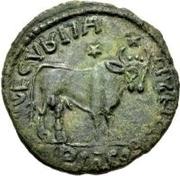 Æ bronze Au nom de Julian II, 361-363 (deux étoiles au-dessus du taureau; buste barbu) – revers