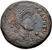 Æ bronze Au nom de Constantius II, 337-361 (bateau rond; avec étoile) – avers