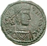 Æ bronze Au nom de Constantius II, 337-361 (cavalier vers le haut; soldat au-dessus du cheval) – avers