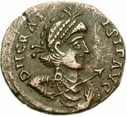 Æ bronze Au nom de Gratian, 367-383 – avers