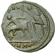 Æ bronze Au nom de Constantius II, 337-361 (cavalier vers le haut; soldat volant au cheval; lance courte) – revers