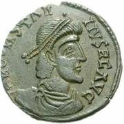 Æ bronze Au nom de Constantius II, 337-361 (cavalier vers le haut; soldat volant au cheval; lance longue) – avers