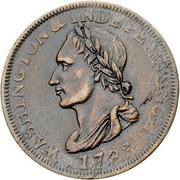 """1 cent """"Washington Celebration Unity Cent"""" (tête laurée) – avers"""