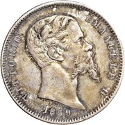 1 lira - Vittorio Emanuele II – avers