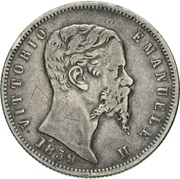2 lire - Vittorio Emanuele II – avers