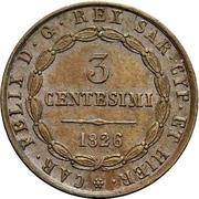 3 centesimi - Charles Felix – avers