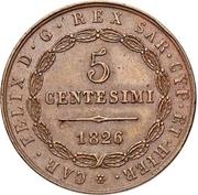 5 centesimi - Carlo Felix – avers