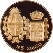 20 000 Nuevos Pesos Visit of Spanish King & Queen – avers