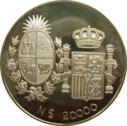 20.000 Nuevos Pesos Visit of Spanish King & Queen – avers