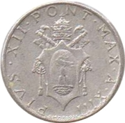 2 lires Pie XII -  avers