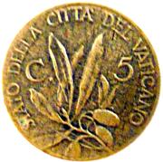 5 centesimi Pie XII – revers