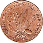 5 centesimi Jubilé de Pie XI – revers
