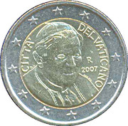 2 euros Benoît XVI (1ère carte) -  avers
