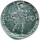 50 centesimi Pie XII – revers