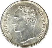 2 bolivars (argent, avec marque d'atelier) – revers