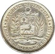2 bolivars (argent, avec marque d'atelier) – avers