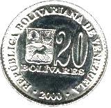 20 bolivars (acier plaqué nickel) – avers