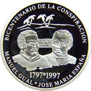 500 bolivars (Bicentenaire de la conspiration) – revers