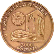3000 bolivars (Maison de la monnaie de Maracay) – avers
