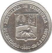 50 centimos (argent avec marque d'atelier) – avers