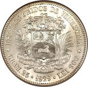 5 bolivars (argent) – avers