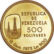 500 bolivars (Nationalisation de l'industrie pétrolière) – avers