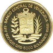 5000 bolivars (Santiago Mariño) – avers
