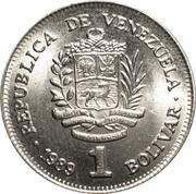 1 bolivar (petites armoiries - acier plaqué nickel) -  avers