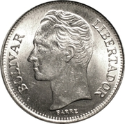 1 bolivar (petites armoiries - acier plaqué nickel) -  revers