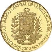 5000 bolivars (José Antonio Páez) – revers
