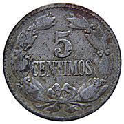 5 centimos (blason arrondi et grand) – revers