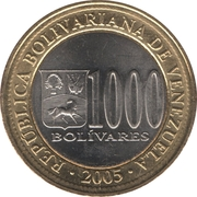 1000 bolivars – avers
