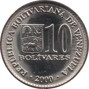 10 bolivars (acier plaqué nickel) – avers
