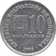 10 bolivars (aluminium zinc) – avers