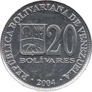 20 bolivars (aluminium zinc) – avers