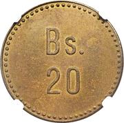 20 bolívar (léproserie de Cabo Blanco) – revers