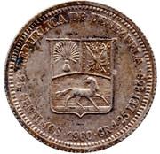 25 centimos (argent avec marque d'atelier) – avers