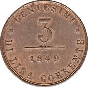 3 centesimi (révolution) – revers