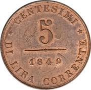 5 centesimi (Révolution) – revers