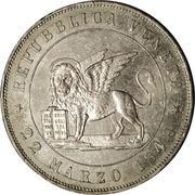 """5 lire (""""DIO BENEDETE L'ITALIA"""") – avers"""