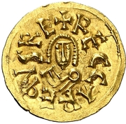 Tremissis Recaredo I Caesaraugusta – avers