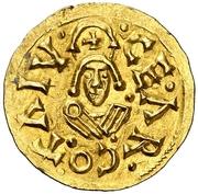 Tremissis Recaredo I Caesaraugusta – revers